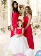 Sophisticated Red Empire Satin Bridesmaid Dress with Floor Length