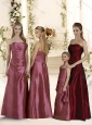 Cheap Empire Ruched Long Bridesmaid Dresses in Taffeta
