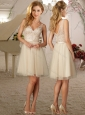 Fashionable Deep V Neck Champagne Short Cheap Dama Dress with Appliques