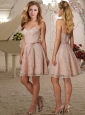 Fashionable Spaghetti Straps Peach Cheap Dama Dress with Lace and Sashes
