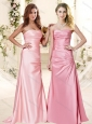 Popular Brush Train Ruching Bridesmaid Dress with Empire