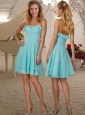 Simple Halter Top Aqua Blue Short Cheap Dam Dress in Chiffon