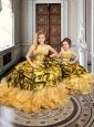Fashionable Applique and Bubble Gold Princesita with Quinceanera Dresses in Organza and Taffeta