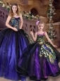 Fashionable Ball Purple Princesita Quinceanera Dresses with Peacock Appliques