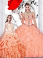 Gorgeous Puffy Skirt Organza Princesita with Quinceanera Dresses  with Ruffles and Beading
