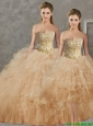 Wonderful Big Puffy Champagne Detachable Quinceanera Skirts  with Beading and Ruffles