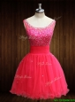 Modest Beaded Bodice Open Back Organza Prom Dress in Coral Red