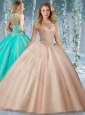 Fashionable Halter Top Champagne 15 Quinceanera Dress with Appliques and Beading