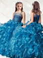 Luxurious Beaded and Ruffled Mini Quinceanera  Dress in Teal