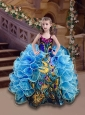 Affordable Straps Blue Mini Quinceanera Dress with Beading and Ruffles