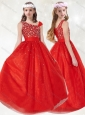 New Style  Asymmetrical Neckline Red Little Girl Pageant Dress with Beading