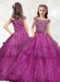 New Style Off the Shoulder Little Girl Pageant Dress with Beading and Ruffled Layers
