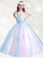 New Style V Neck Rainbow Little Girl Pageant Dress with Beading