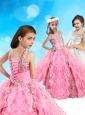 Lovely Beaded and Ruffled Big Puffy Mini Quinceanera Dress in Pink