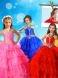 New Arrivals Halter Top Big Puffy Mini Quinceanera Dress with Beading and Ruffled Layers