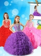 Discount Beaded and Ruffled  Mini Quinceanera Dress with Scoop