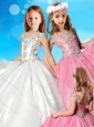 Elegant Beaded Decorated Halter Top and Bodice Little Girl Pageant Dress