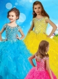 Exclusive Spaghetti Straps Little Girl Pageant Dress with Beading and Ruffles