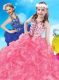 Fashionable V Neck Big Puffy Little Girl Pageant Dress with Beading and Ruffles