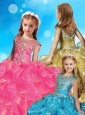 Gorgeous Beaded and Ruffled Little Girl Pageant Dress with See Through Scoop