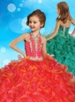 Popular Halter Top Little Girl Pageant Dress with Beading and Ruffles