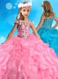 Beautiful Asymmetrical Neckline Rose Pink Little Girl Pageant Dress with Beading and Ruffles
