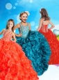 Elegant Beaded and Ruffled Red Little Girl Pageant Dress with Square