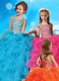 Fashionable Halter Top Cap Sleeves Little Girl Pageant Dress with Beading and Ruffles