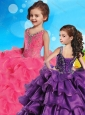 Hot Sale V Neck Beaded and Ruffled Layers Little Girl Pageant Dress