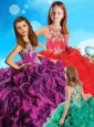 Most Popular Beaded and Ruffled Criss Cross Little Girl Pageant Dress in Organza