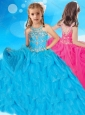 Most Popular Beaded and Ruffled Little Girl Pageant Dress with Scoop