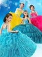 Top Selling Straps Criss Cross Little Girl Pageant Dress with Beading and Ruffled Layers