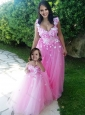 Beautiful Deep V Neckline Modest Prom Dress with Appliques and Hot Sale Rose Pink Little Girl Dress with See Through Scoop