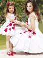 Classical Embroidered Modest Prom Dress with Knee Length and Hot Sale Scoop Little Girl Dress in White