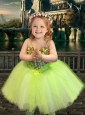 Most Popular Yellow Green Spaghetti Straps Flower Girl Pageant Dress with Beading
