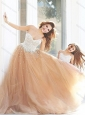 New Arrivals Beaded Modest Prom Dress with Brush Train and Cheap Sweetheart Little Girl Dress with Beading