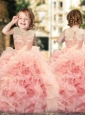 Wonderful Ruffled and Laced Flower Girl Pageant Dress with See Through Scoop