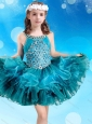 Popular Beaded Decorated Scoop Teal Little Girl Mini Quinceanera Dress in Organza