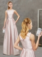 Decent Empire Bateau Baby Pink Evening Dress with Ruching