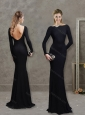 Elegant Bateau Long Sleeves Black Evening Dress with Brush Train