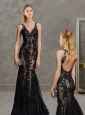 Exquisite Laced Open Back Black Evening Dress with Deep V Neckline