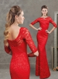 Fashionable Bateau Laced Red Evening Dress with Half Sleeves