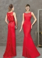 Feminine Column Red Evening Dress with Lace and Bowknot