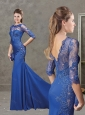 Gorgeous See Through Half Sleeves Evening Dress with Brush Train