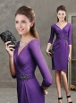Beaded Purple Short Modest Prom Dress with Three Fourth Length Sleeves