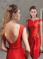 Classical Bateau Cap Sleeves Short Mother of the Bride Dress in Red