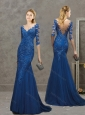 Deep V Neckline Tulle and Lace Blue Evening Dress with Brush Train