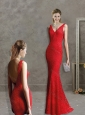 Feminine Deep V Neckline Red Mother of the Bride Dress with Lace