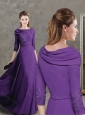 Lovely Purple Evening Dress with Applique Decorated Half Sleeves