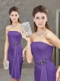 Low Price Column Strapless Purple Short Mother of the Bride Dress with Beading